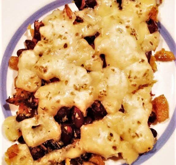 Kidneybeans og sweet potatoes – gratineret med emmentaler